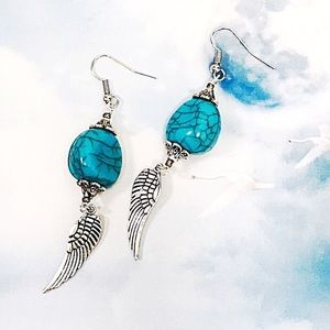 Jewelry - BOGO💫Turquoise Bead with Silver Plated Wings
